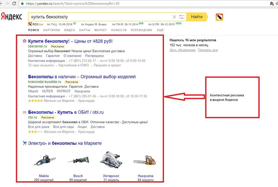 Контекстная реклама на поиске Яндекса